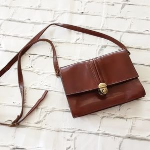 VINTAGE THE TREND BROWN LEATHER CROSSBODY BAG